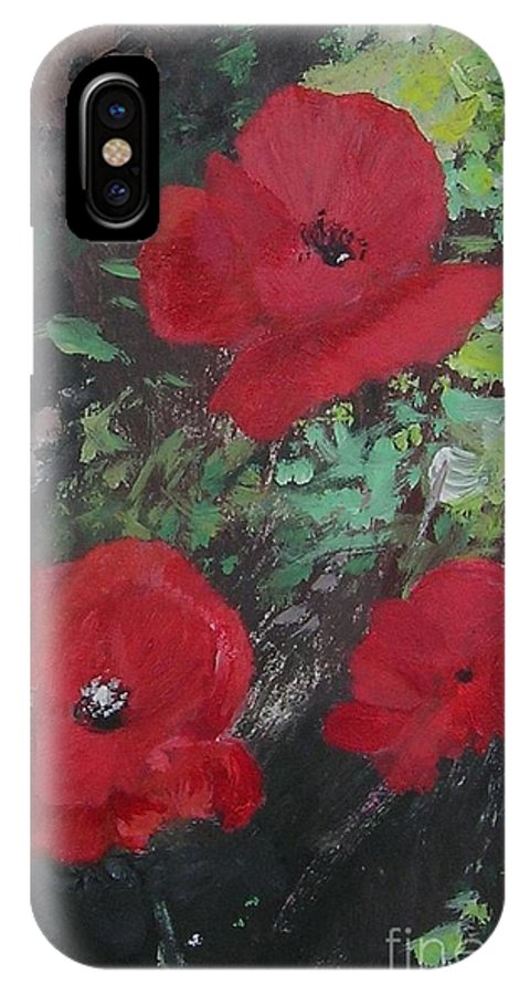 Red IPhone X Case featuring the painting Poppies by Lizzy Forrester