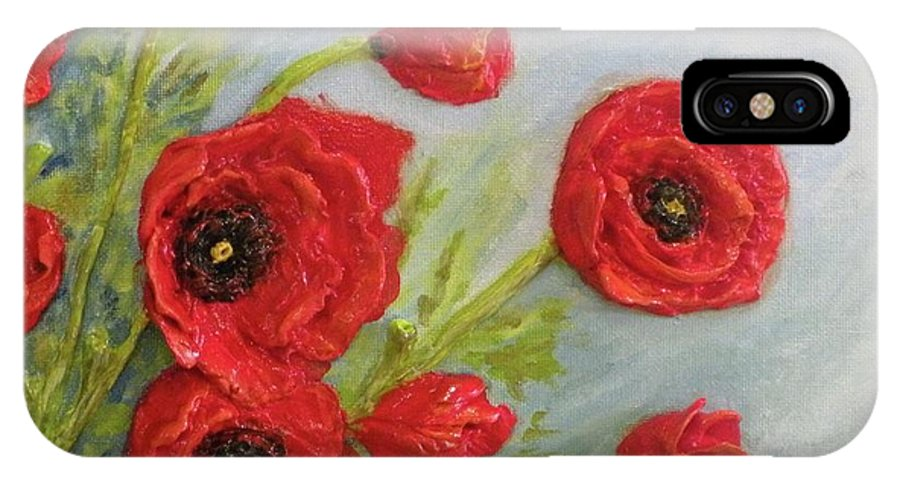 Flowers IPhone X Case featuring the relief Poppin Poppies by Lorrie T Dunks