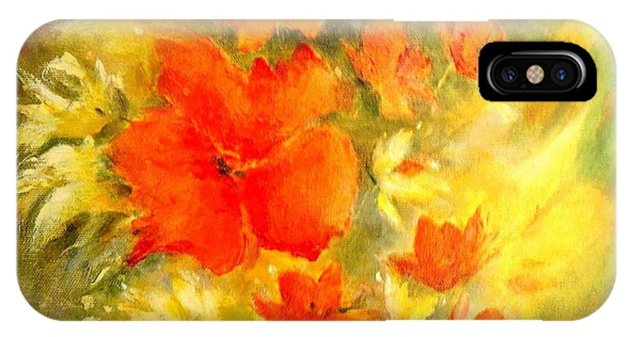 Canvas Prints IPhone Case featuring the painting Poppy Bouquet by Madeleine Holzberg