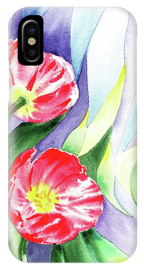 Poppy IPhone X Case featuring the painting Poppy Couple Gentle Wind by Irina Sztukowski