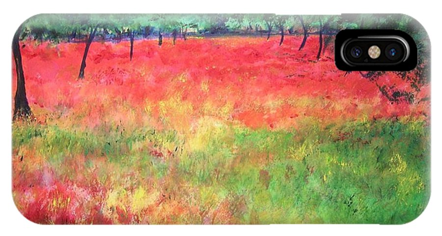 Original Landscape Painting. Poppy Field IPhone X Case featuring the painting Poppy Field II by Lizzy Forrester