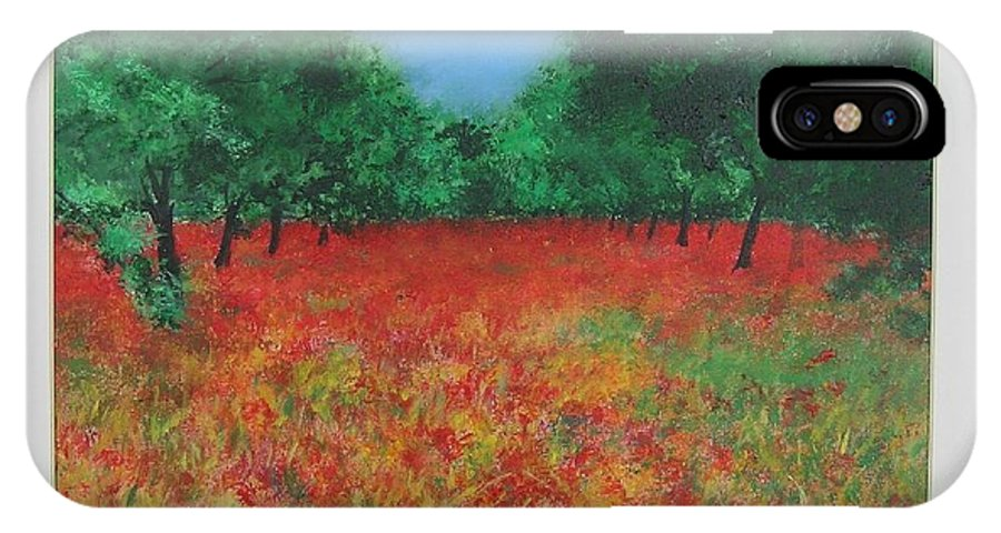 Poppy IPhone Case featuring the painting Poppy Field In Ibiza by Lizzy Forrester