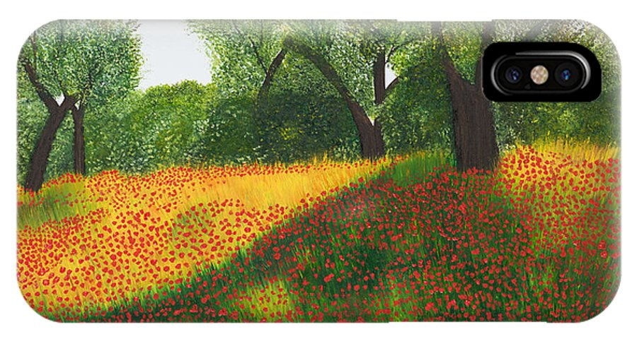 Olive IPhone X / XS Case featuring the painting Poppy Field by Sandra Lorant