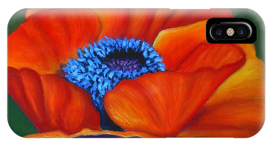 Red Flower IPhone X Case featuring the painting Poppy Pleasure by Minaz Jantz