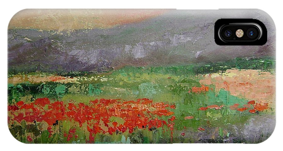 Poppies IPhone X Case featuring the painting Poppyfield by Ginger Concepcion
