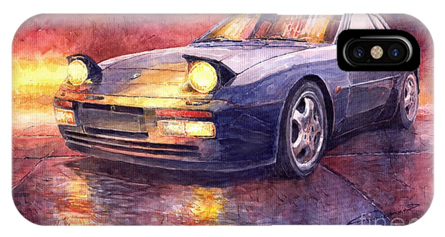 Auto IPhone X Case featuring the painting Porsche 944 Turbo by Yuriy Shevchuk