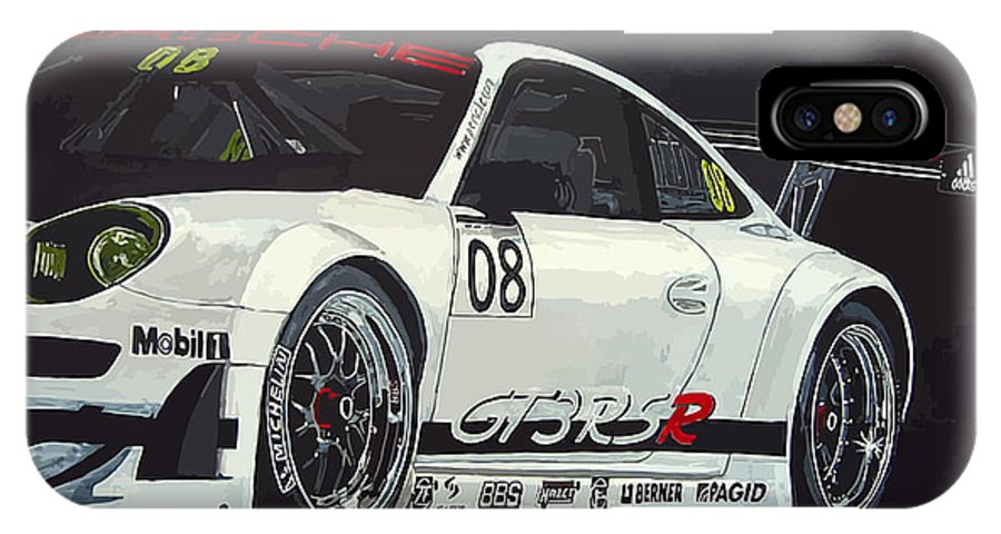 Car IPhone X Case featuring the painting Porsche Gt3 Rsr by Richard Le Page