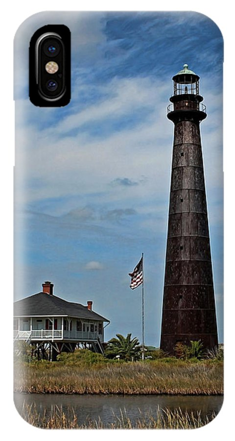 Aged IPhone X Case featuring the photograph Port Bolivar Lighthouse by Judy Vincent