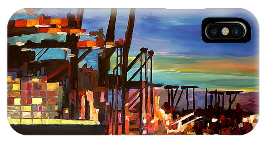 Port IPhone X Case featuring the painting Port Of Hamburg With Container Ships by M Bleichner
