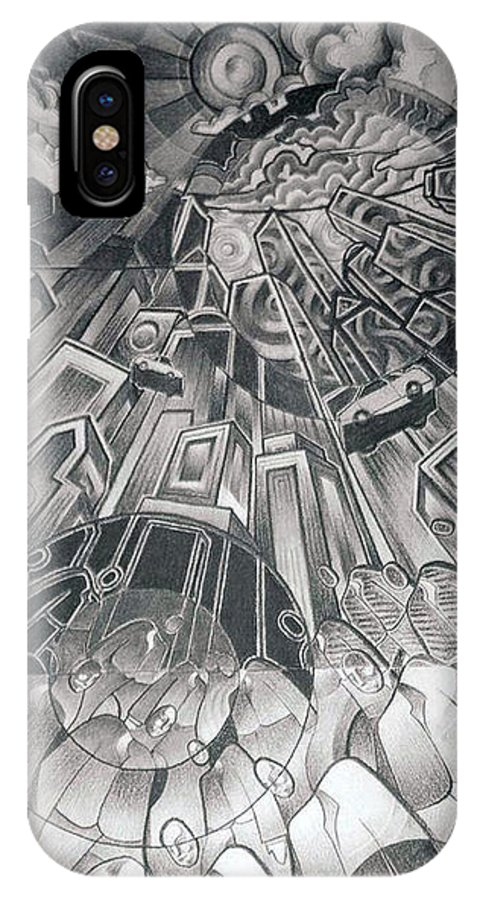 Art IPhone X Case featuring the drawing Portals by Myron Belfast