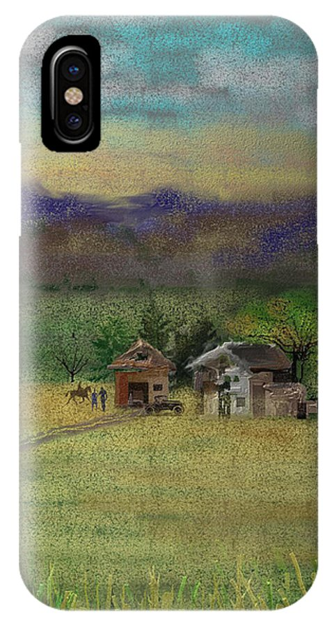 Barn IPhone X Case featuring the digital art Porter's Farm by Arline Wagner