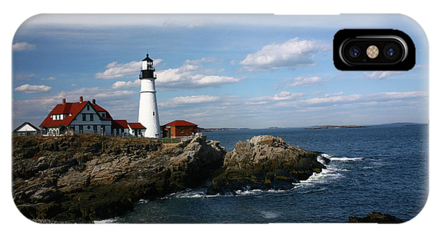 Lighthouse IPhone X Case featuring the photograph Portland Head Lighhouse by Patricia Betts