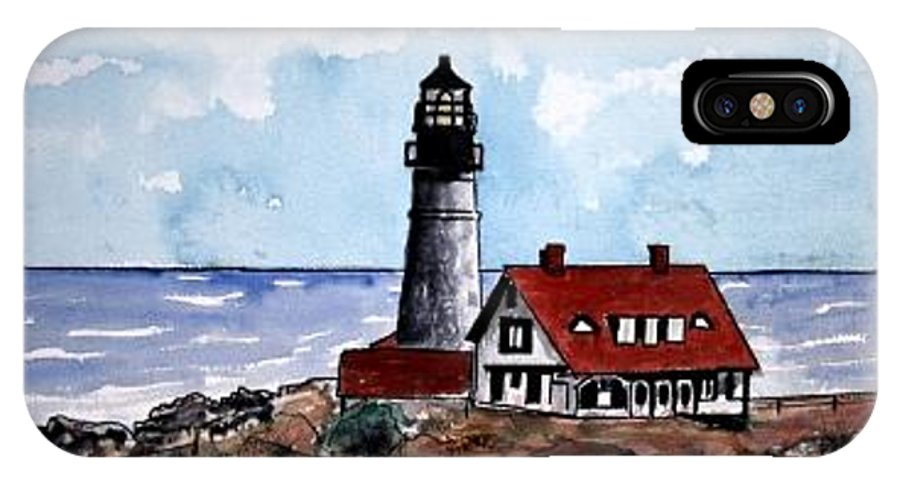 Lighthouse Paintings IPhone X Case featuring the painting Portland Head Lighthouse by Derek Mccrea