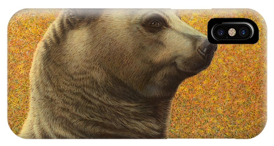 Bear IPhone X Case featuring the painting Portrait Of A Bear by James W Johnson
