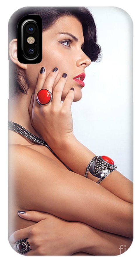 Beauty IPhone X Case featuring the photograph Portrait Of A Beautiful Woman Wearing Jewellery by Oleksiy Maksymenko