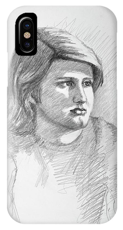 Realism IPhone X Case featuring the drawing Portrait Of A Boy by Keith Burgess