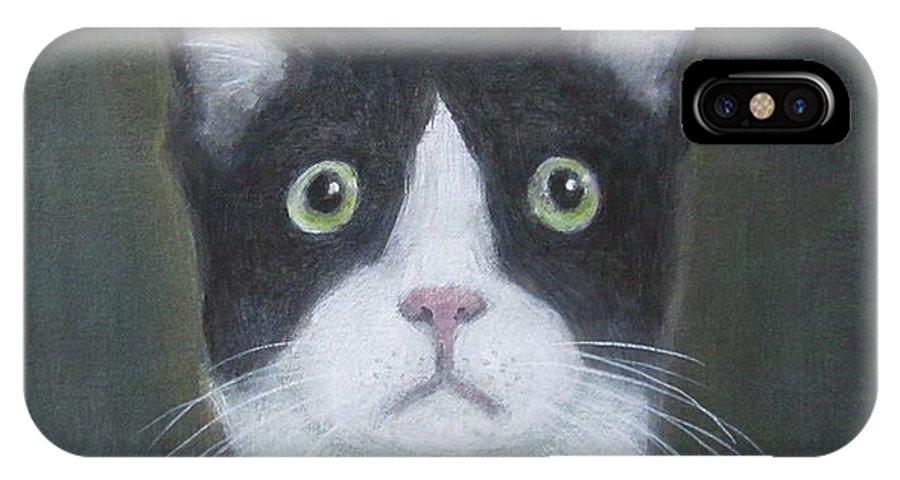 Portrait Of A Cat IPhone X Case featuring the painting Portrait Of A Cat by Kazumi Whitemoon