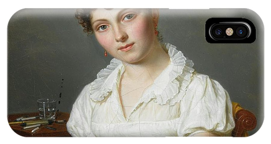 Pierre Louis Bouvier Portrait Of A Lady IPhone X / XS Case featuring the painting Portrait Of A Lady Half Length by MotionAge Designs
