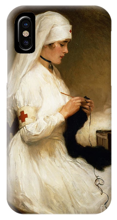 Portrait IPhone X Case featuring the painting Portrait Of A Nurse From The Red Cross by Gabriel Emile Niscolet
