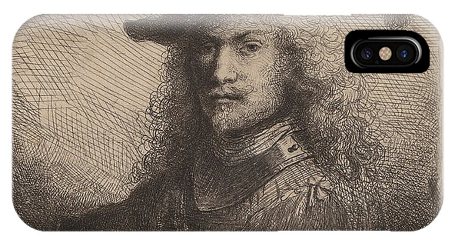 IPhone X Case featuring the drawing Portrait Of An Officer by Ferdinand Bol