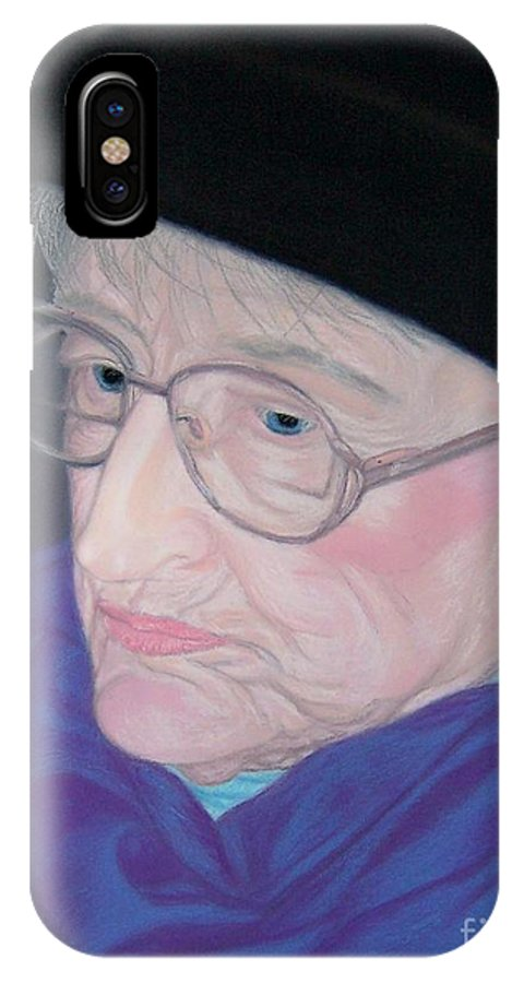 Grandma IPhone X Case featuring the pastel Portrait Of Elizabeth by Emily Young