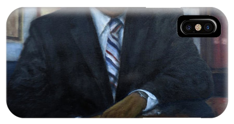 IPhone X Case featuring the painting Portrait Of John Lewis by Sylvia Castellanos