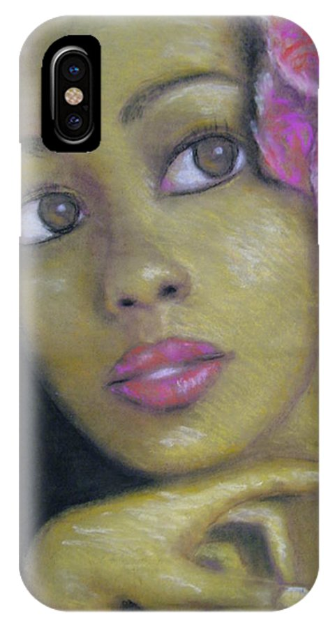 Drawing IPhone X Case featuring the drawing Portrait Of Monica by Jan Gilmore