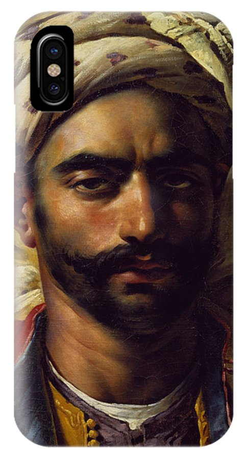 Orientalist; Muslim; Swarthy; Turban; Male; Girodet; Bust; Head; Moor; Arab; Arabe IPhone X Case featuring the painting Portrait Of Mustapha by Anne Louis Girodet de Roucy-Trioson