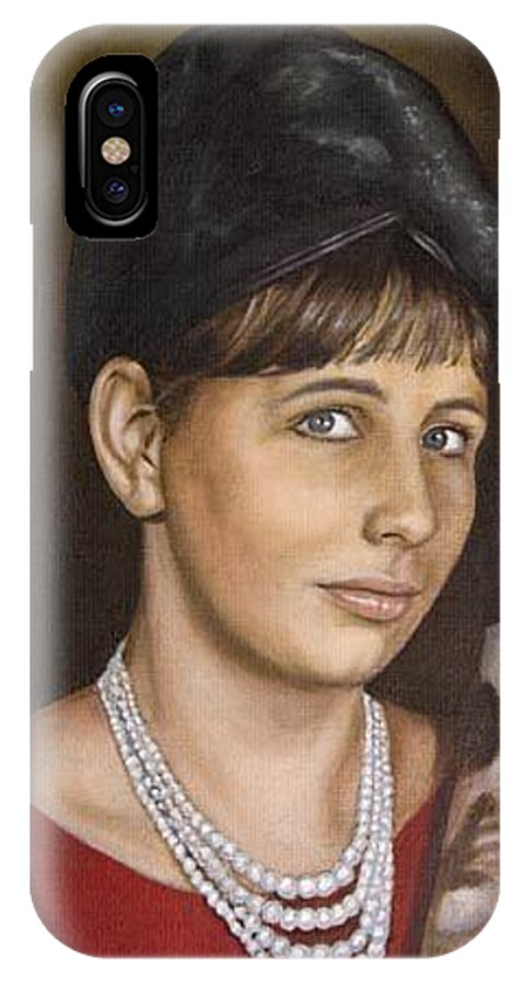 Portrait IPhone X Case featuring the painting Portrait Of My Mother Early Sixties by Rob De Vries