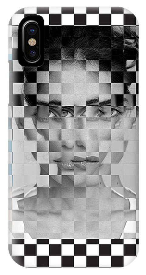 IPhone X Case featuring the painting Portrait Visually Unstable by Maciej Mackiewicz