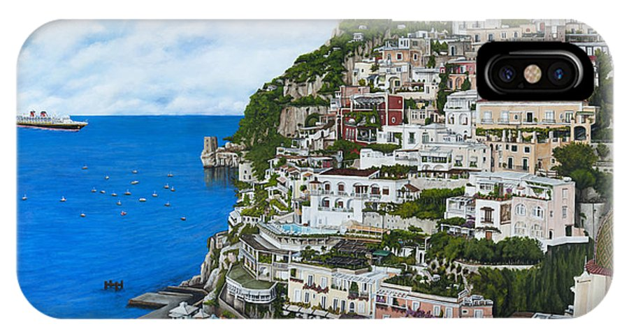 Positano IPhone X Case featuring the painting Positano Italy by Cindy D Chinn