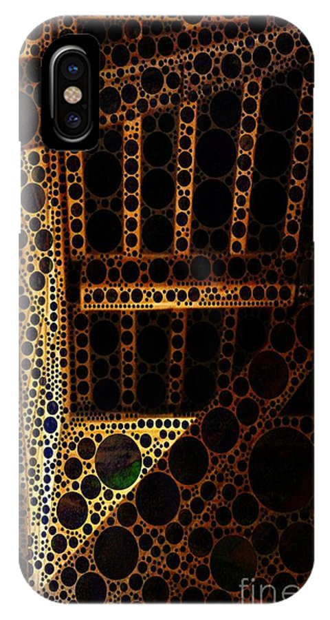 Abstract IPhone X Case featuring the digital art Post And Beam by Ron Bissett