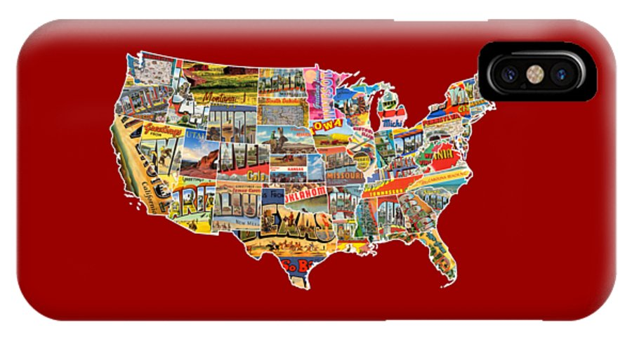 Postcards IPhone X Case Featuring The Mixed Media Of United States Vintage Usa Lower