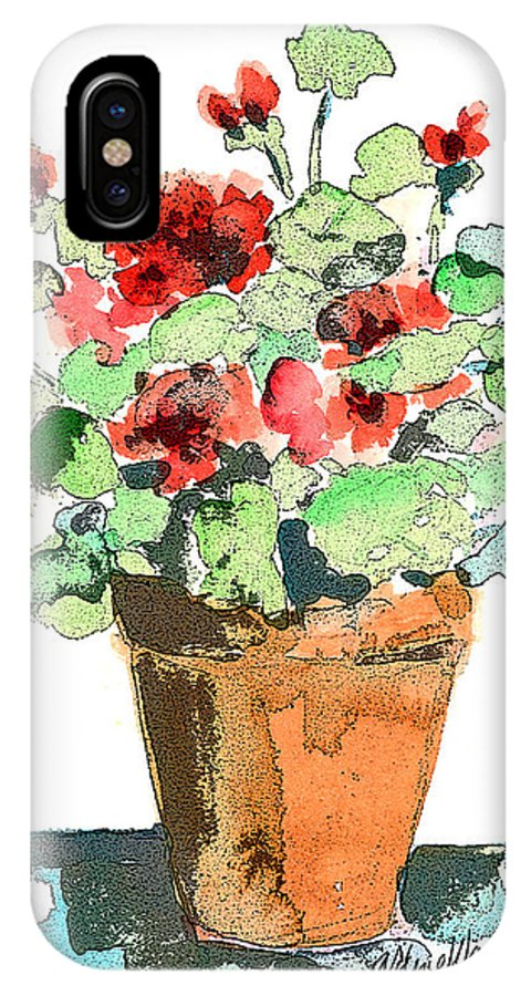 Plants IPhone X Case featuring the painting Potted Geraniums by Arline Wagner