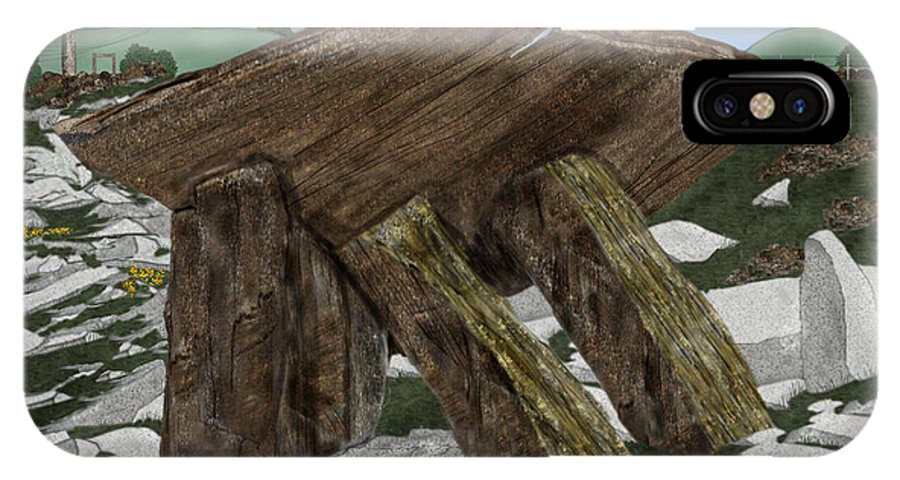 Landscape IPhone X Case featuring the painting Poulnabrone Dolmen County Clare Ireland by Anne Norskog