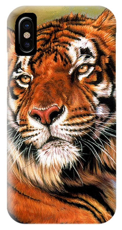 Tiger IPhone X Case featuring the pastel Power and Grace by Barbara Keith