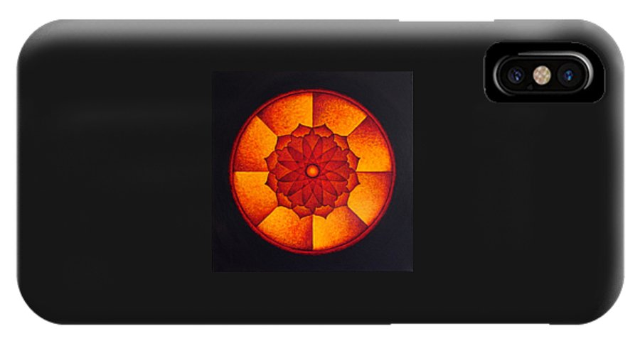 Mandala IPhone X Case featuring the painting Power Wheel by Erik Grind
