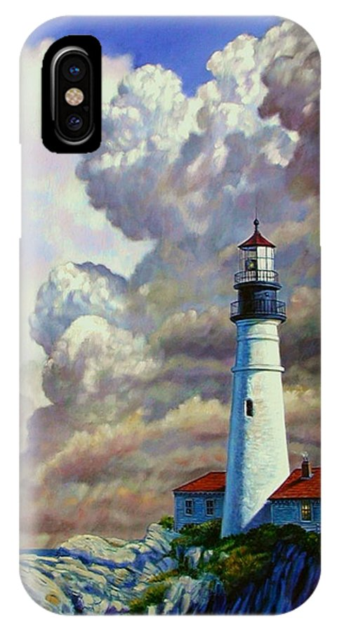 Lighthouse IPhone X Case featuring the painting Powering Up by John Lautermilch