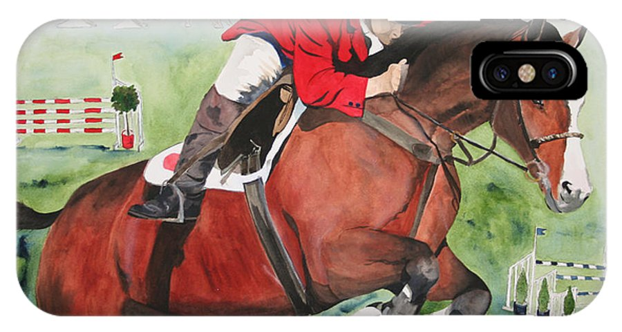 Horse IPhone X Case featuring the painting Practice Makes Perfect by Jean Blackmer