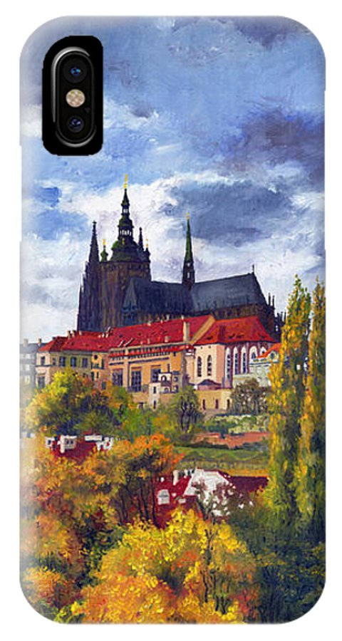 Prague IPhone X Case featuring the painting Prague Castle With The Vltava River by Yuriy Shevchuk