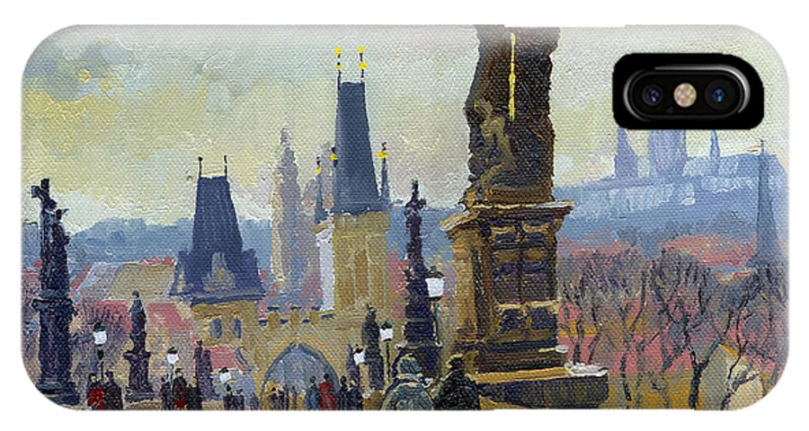 Oil On Canvas IPhone X Case featuring the painting Prague Charles Bridge 04 by Yuriy Shevchuk