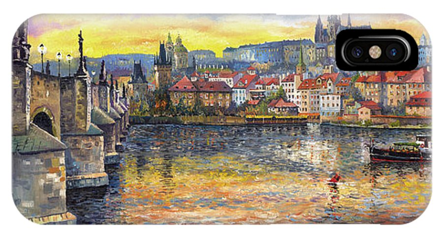 Oil On Canvas IPhone Case featuring the painting Prague Charles Bridge And Prague Castle With The Vltava River 1 by Yuriy Shevchuk