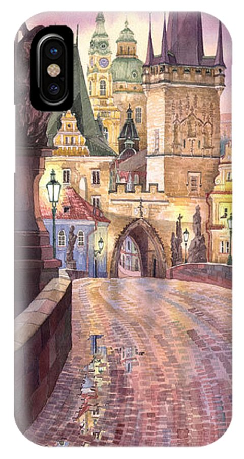 Watercolour IPhone X Case featuring the painting Prague Charles Bridge Night Light 1 by Yuriy Shevchuk