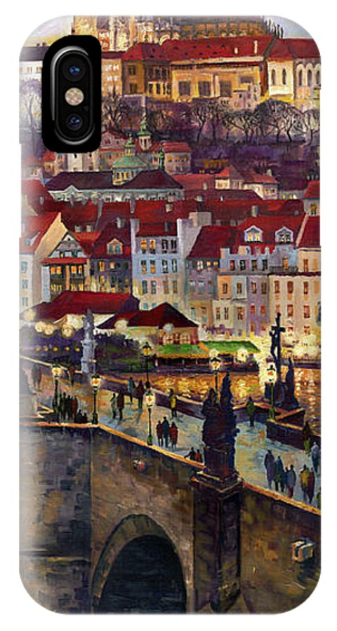 Prague IPhone X Case featuring the painting Prague Charles Bridge With The Prague Castle by Yuriy Shevchuk