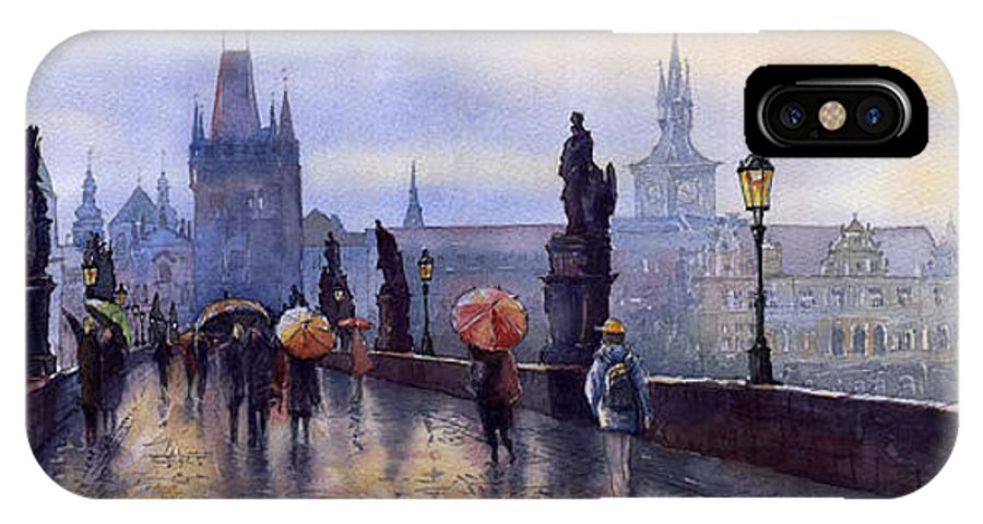 Cityscape IPhone X Case featuring the painting Prague Charles Bridge by Yuriy Shevchuk