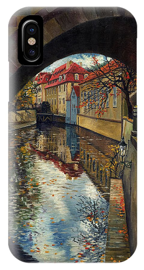 Oil IPhone X Case featuring the painting Prague Chertovka 3 by Yuriy Shevchuk