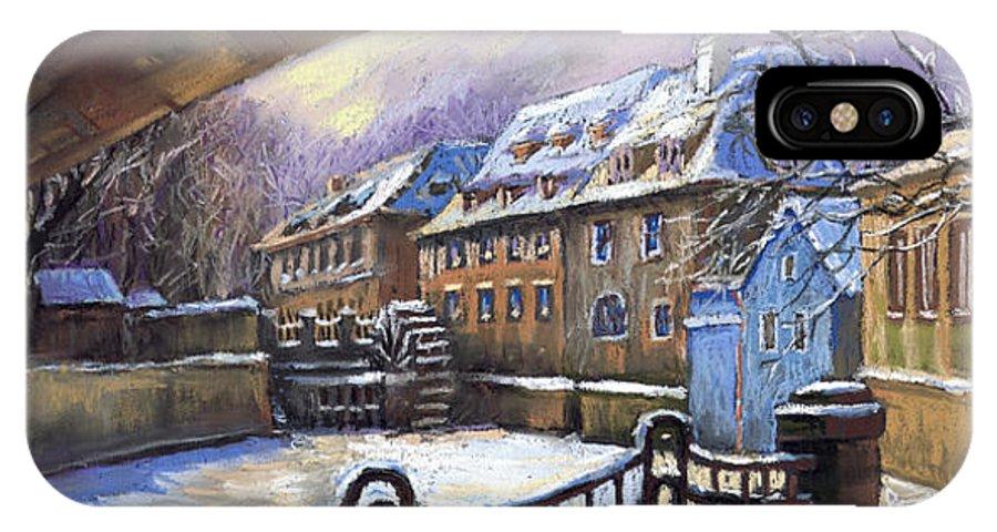 Pastel IPhone X / XS Case featuring the painting Prague Chertovka Winter 01 by Yuriy Shevchuk