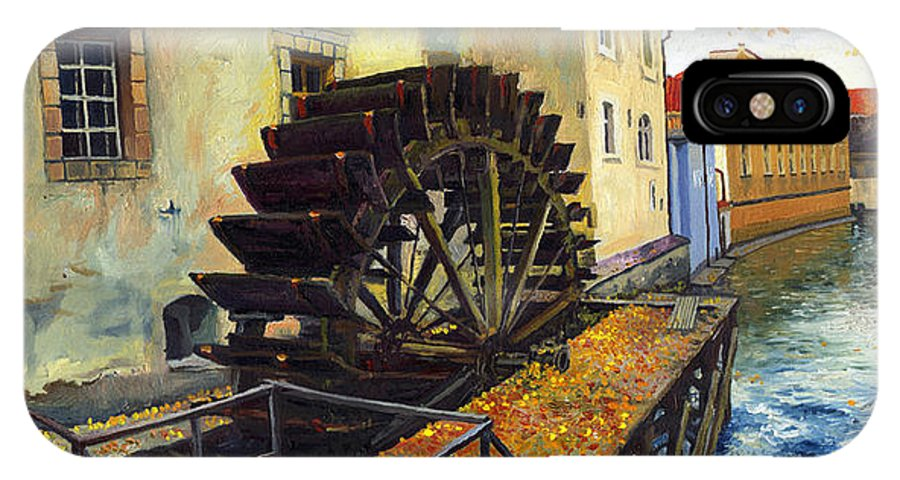Prague IPhone X Case featuring the painting Prague Chertovka by Yuriy Shevchuk