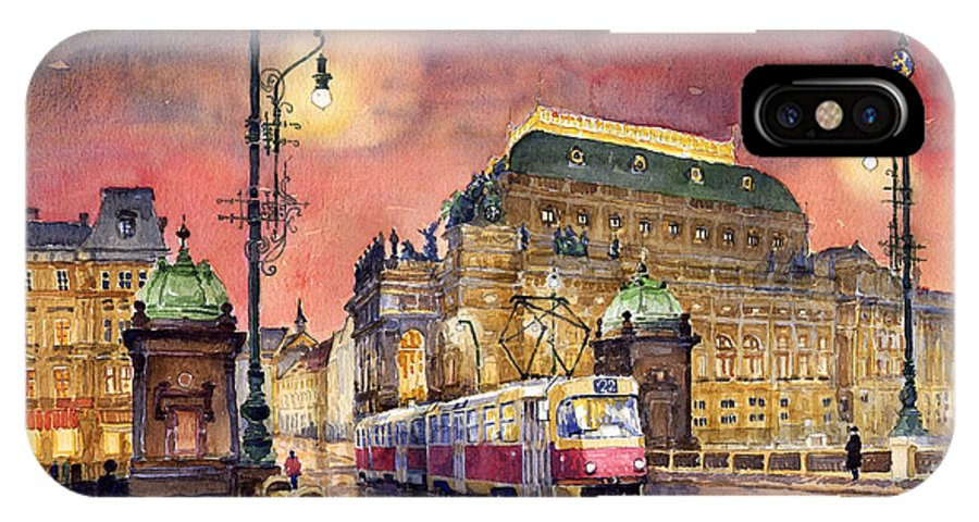 Bridge IPhone X Case featuring the painting Prague Night Tram National Theatre by Yuriy Shevchuk