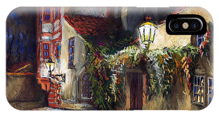 Prague IPhone X Case featuring the painting Prague Novy Svet Kapucinska Str by Yuriy Shevchuk